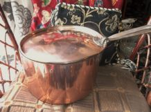 "SUPERB EXTRA LARGE COPPER SAUCEPAN & LID CAST IRON HANDLES 4.5kg 11.5"" DIA X 6.5"